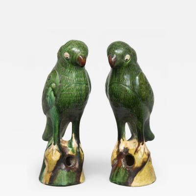 Pair Chinese Standing Green Parrots Circa 1860