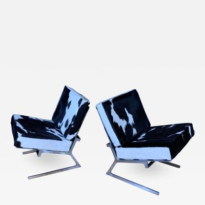 Pair Chromed Steel 1970s Lounge Chairs Argentine Hide