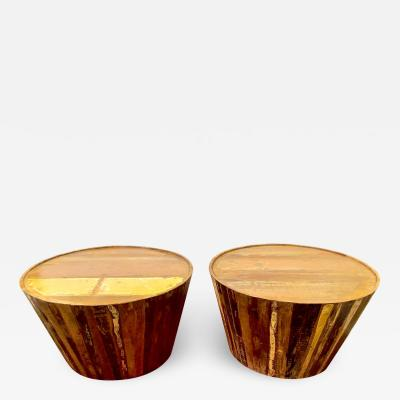 Pair Circular Side Tables Circus Pedestals