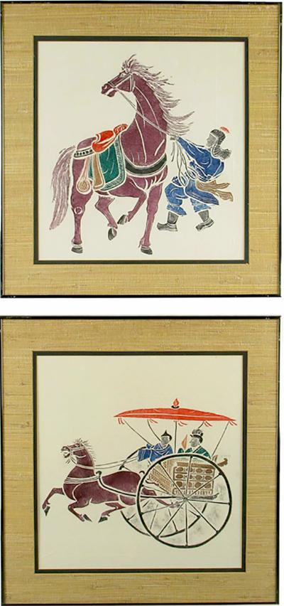 Pair Colorful Chinese Woodblock Prints Featuring Horses