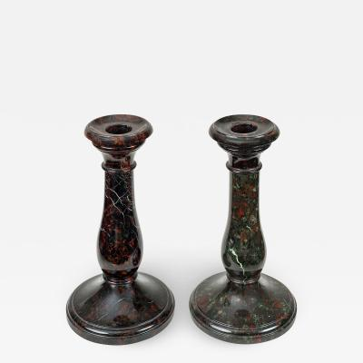 Pair Cornish Serpentine Marble Candlesticks