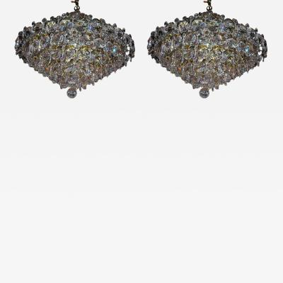 Pair Crystal Modernist Chandelier
