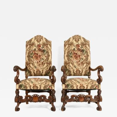 Pair Dutch Hand Carved Walnut Wood High Back Side Armchairs