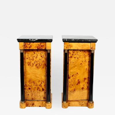 Pair Empire Style Marble Top Bar Wood Half Commodes