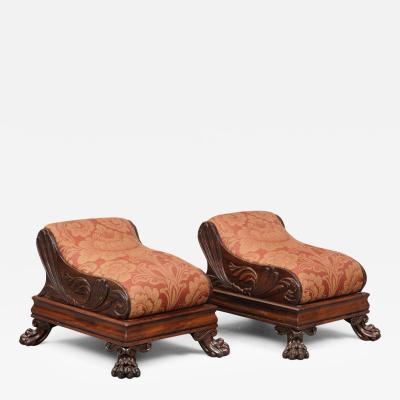 Pair English Antique Regency Footstools