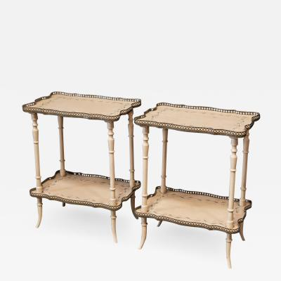 Pair English Country House Painted Occasional Tables