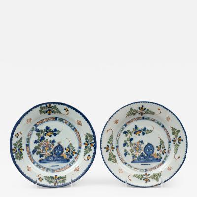 Pair English Delft Plates 18th Century