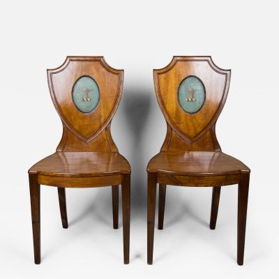 Pair English Hall Chairs