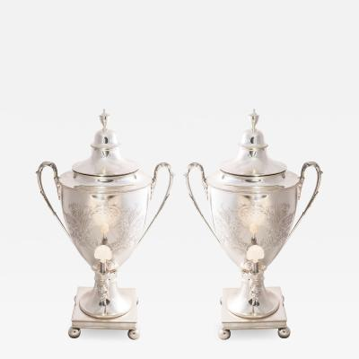 Pair English Sheffield Plate Monumental Hot Water Urns