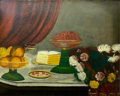 Pair Folky Still Life Paintings Colorful