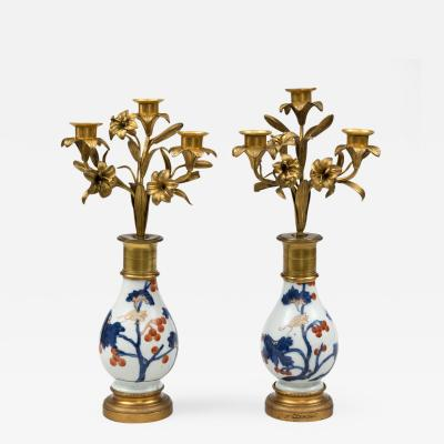 Pair French Candelabra on Imari Stands