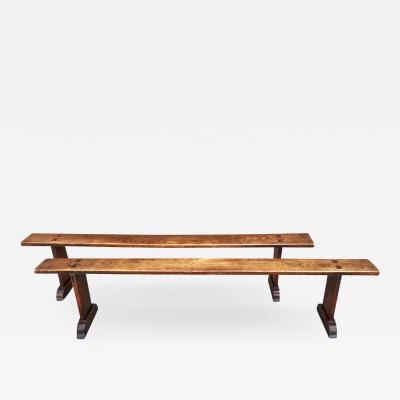 Pair French Chestnut Long Benches Early 19th C
