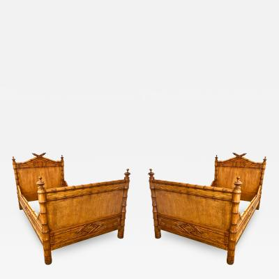 Pair French Faux Bamboo Beds