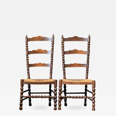 Pair French Oak Provincial Rush Bobbin Chairs