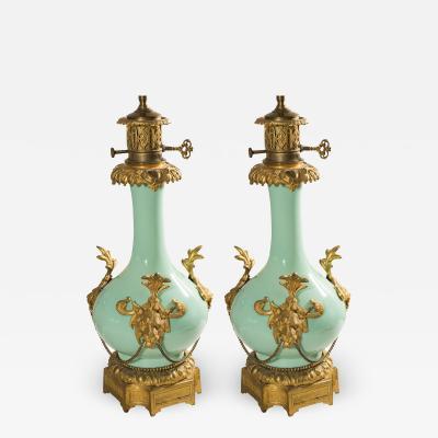 Pair French Renaissance Revival Bronze Porcelain Lamps