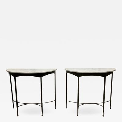 Pair French Wrought Iron and Carrara Marble Top Demilune Tables