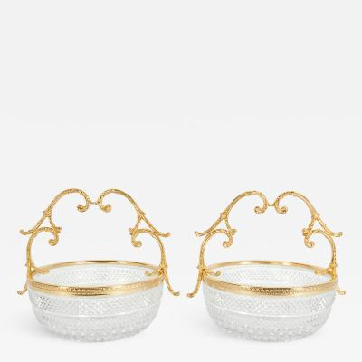 Pair Gilt Bronze Cut Crystal Centerpiece