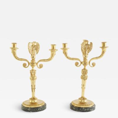 Pair Gilt Bronze Marble Base Three Arms Candelabra