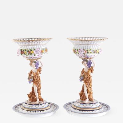 Pair Gilt Gold Glazed Porcelain Decorative Pieces