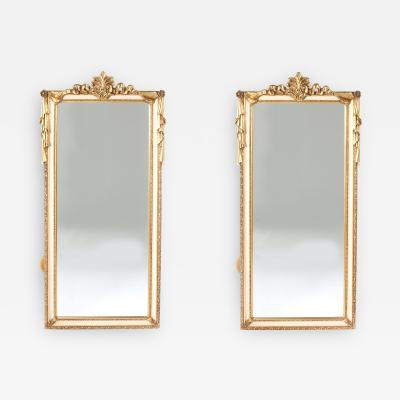 Pair Giltwood Framed Beveled Hanging wall Mirror