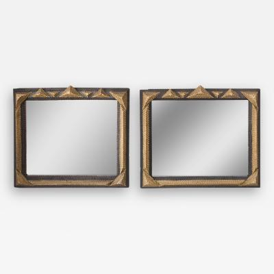 Pair Gold and Black Tramp Art Mirrors