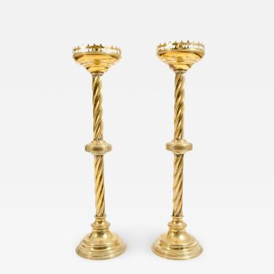 Pair Gothic Style Brass Candlestick