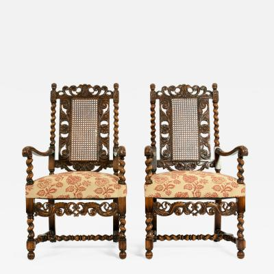 Pair Hand Carved Walnut Cane Back Armchairs Corner Chairs