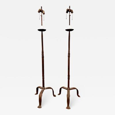 Pair Hand Forged Iron Torchere Floor Lamps Style of Giacometti