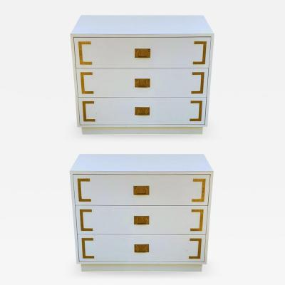 Pair Hollywood Regency Campaign Chests Nightstands or Commodes in White Brass