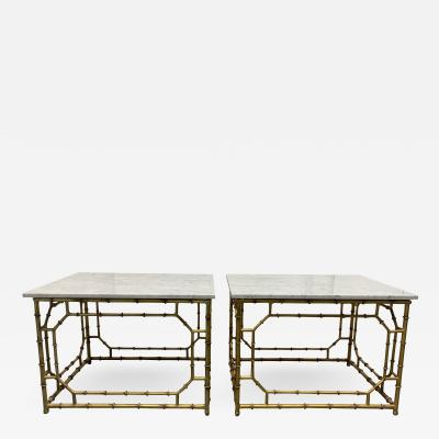 Pair Hollywood Regency Carrara Marble Top Faux Bamboo Tables
