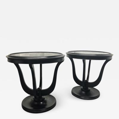 Pair Hollywood Regency Smoked Mirrored Top Side Tables