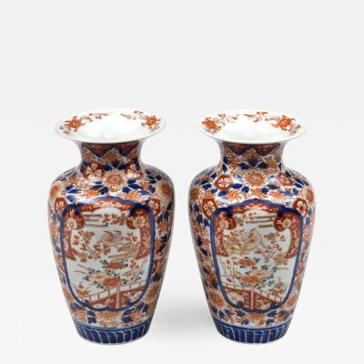 Pair Imari Open Vases Circa 1890