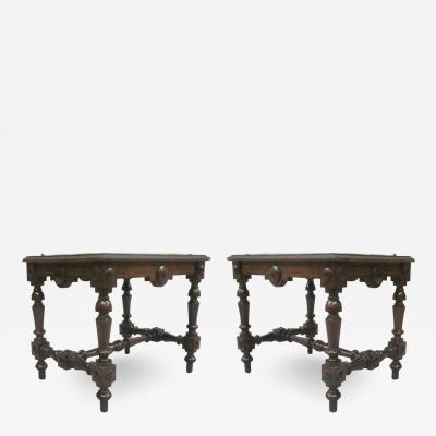 Pair Italian 19th Century Hand Carved Modern Neoclassical Wood Benches or Stools