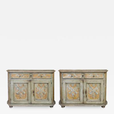 Pair Italian Baroque Polychrome Painted Credenzas