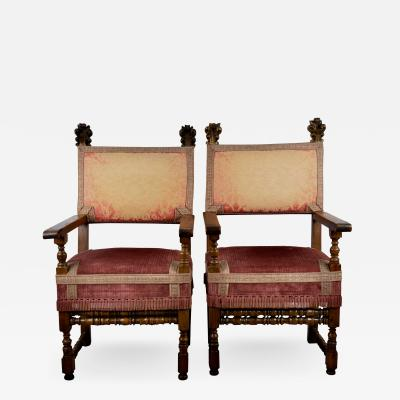 Pair Italian Baroque Walnut Hall Chairs