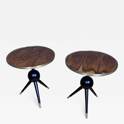 Pair Italian Design Burl Wood and Brass Side Tables