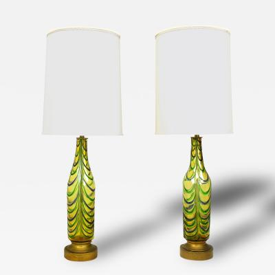 Pair Italian Hand Blown Saffron Green Blue Ribbed Glass Table Lamps
