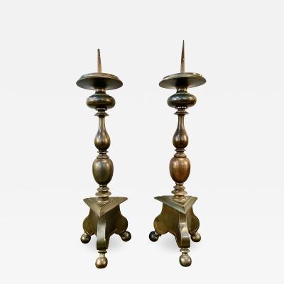 Pair Italian Late 17th Century Bronze Pricket Candlesticks