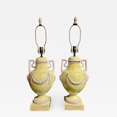 Pair Italian Majolica Terra Cotta Urns as Lamps