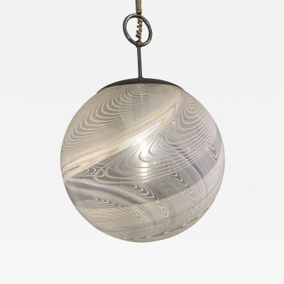 Pair Italian Modern White and Clear Handblown Glass Globe Chandelier Vistosi