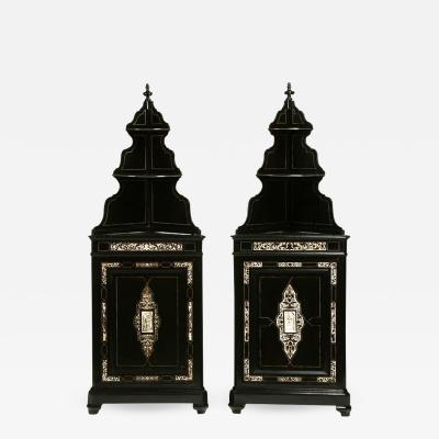 Pair Italian Renaissance Revival Ebonized Corner Cabinets with Shelf