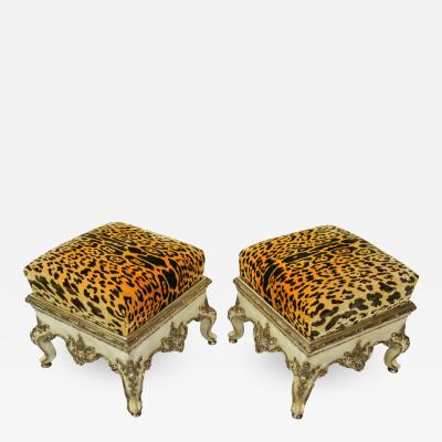 Pair Italian Rococo Cream Painted and Silver Gilt Tabouret Rome mid 18th C