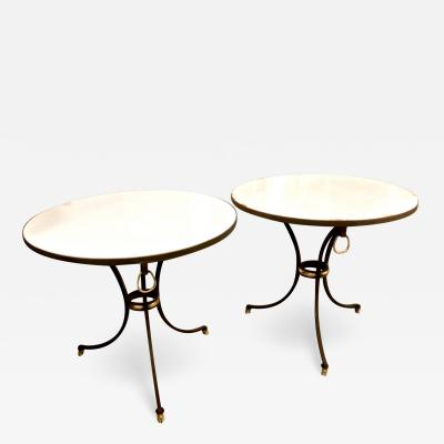 Pair Jansen Style Forged Iron and Marble Side Tables