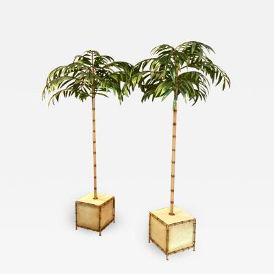 Pair Jansen Style Tole Palm Trees