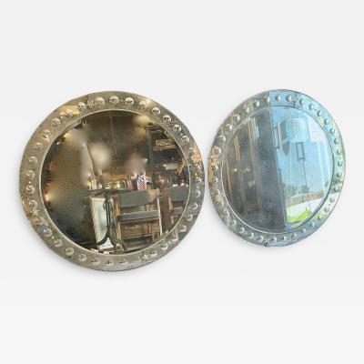 Pair Large Mid Century Round Venetian Mirrors