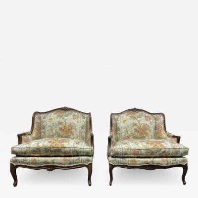 Pair Louis XIV Antique Style Oversized Chairs