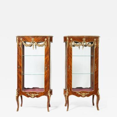Pair Louis XV Style Kingwood Veneered Vitrine
