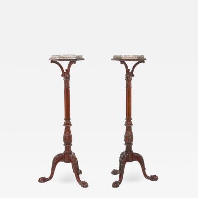 Pair Mahogany Wood Gallery Top Tray Pedestal Tables