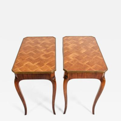 Pair Marquetry Side End Table