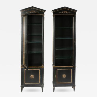 Pair Mid 20th Century Gilt Wood Ebonised Cabinets Vitrines